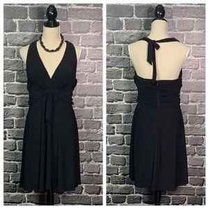 White House Black Market Black Halter Dress Sz 8